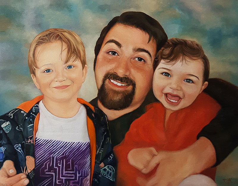 Beautiful oil painting of a father and two sons