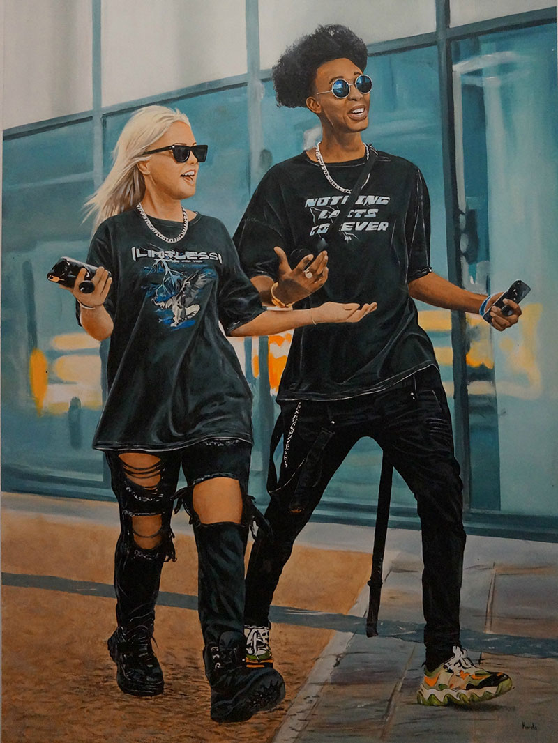 Realistic acrylic painting of a young couple