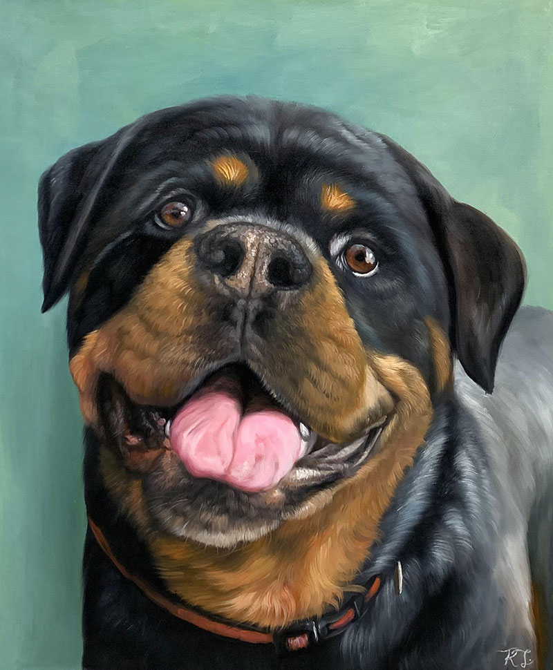 Close up handmade oil painting of a dog