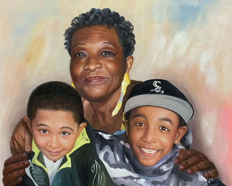 Custom handmade oil painting of grandmother and grandchilden