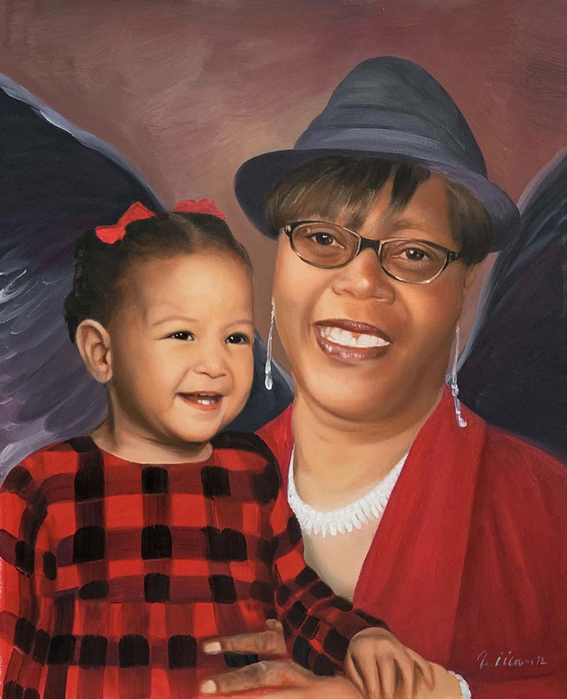 Personalized oil painting of a grandmother and a grandchild