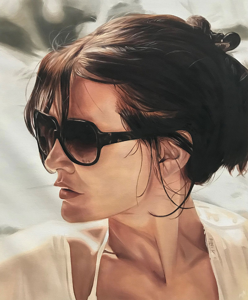 Hyper realistic oil portrait of a lady in sunglasses