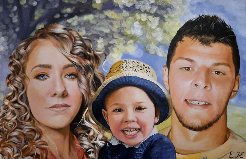 Beautiful handmade portrait of a parents with child