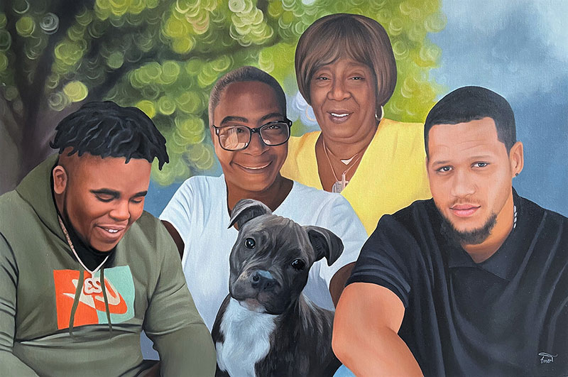 Custom handmade oil painting of a family with dog