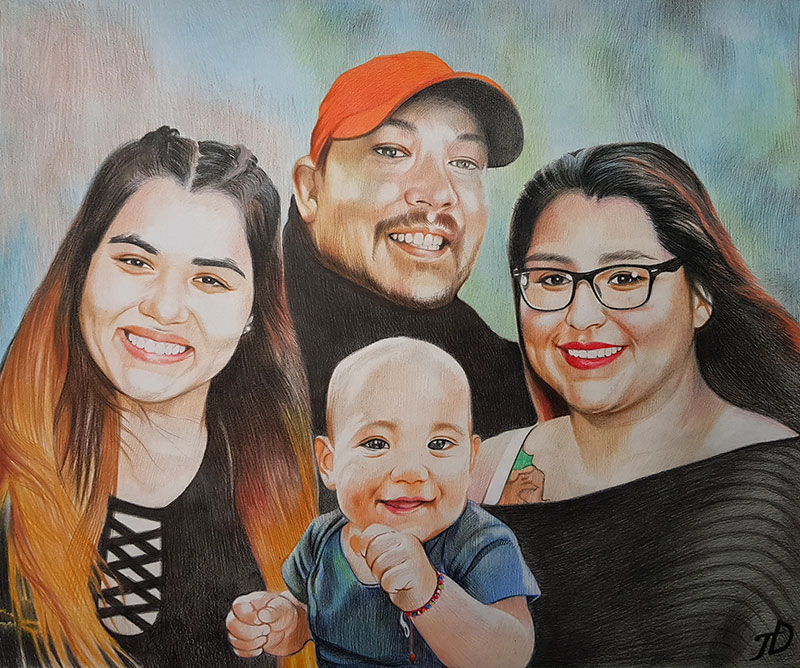Stunning color pencil drawing of a beautiful family