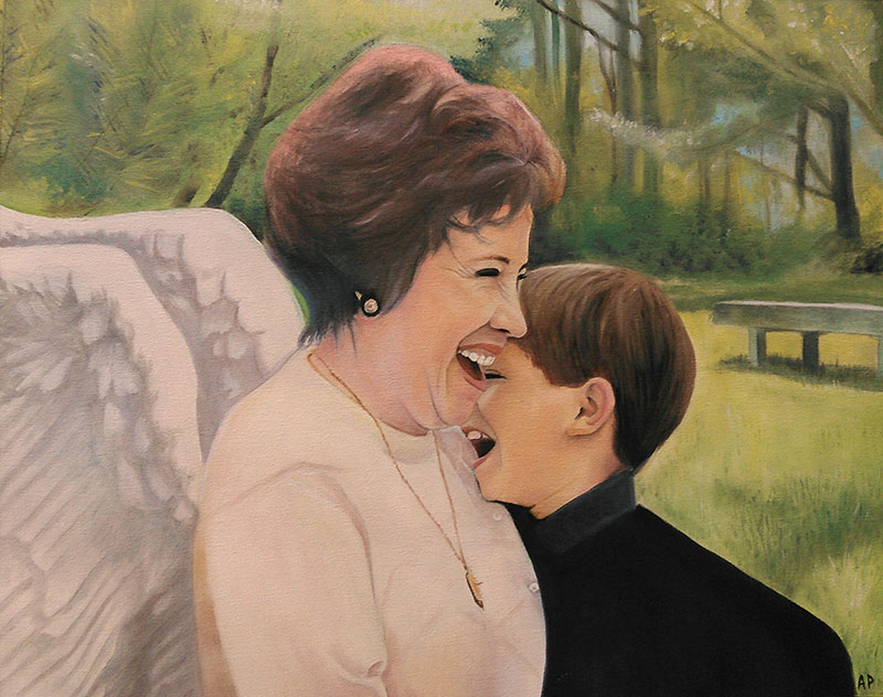 Beautiful handmade oil artwork of a lady with angel wings