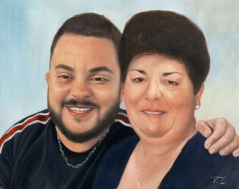 Custom handmade oil painting of a mother and son