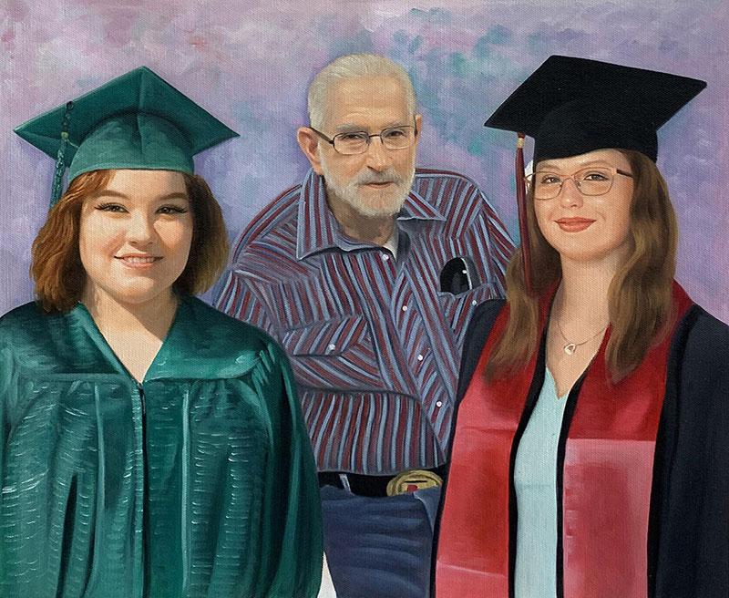Custom handmade acrylic painting of a family