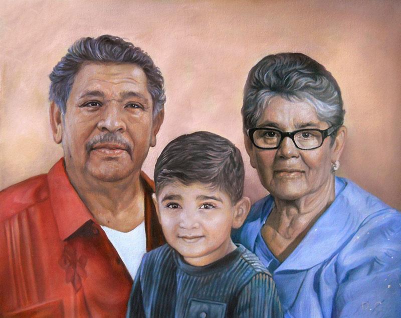 Custom handmade oil artwork of grandparent and grandson
