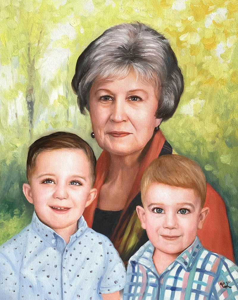 Gorgeous handmade oil painting of a lady with two kids