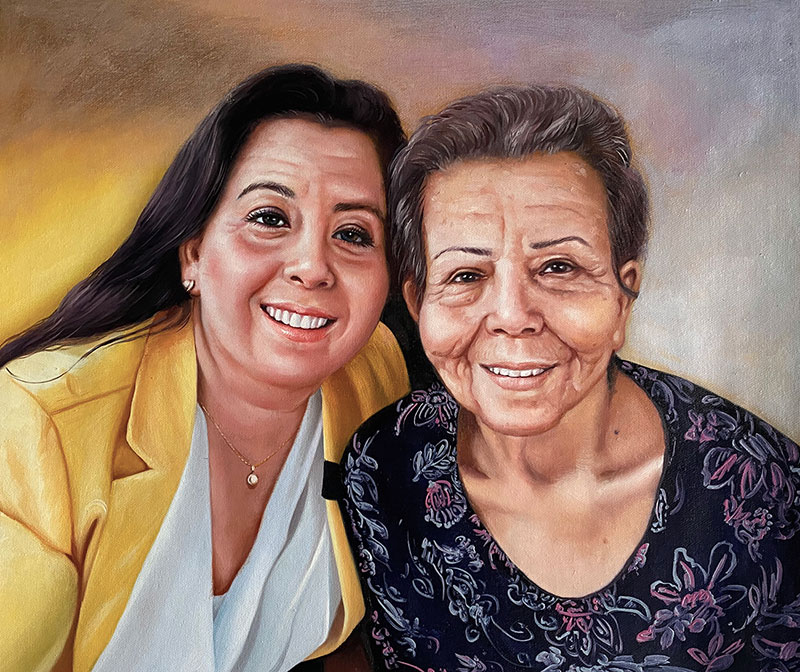 Custom handmade oil painting of two adults