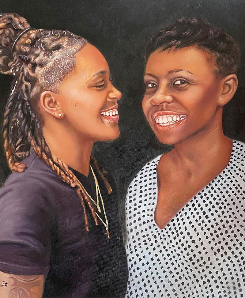 Beautiful handmade oil painting of two black women