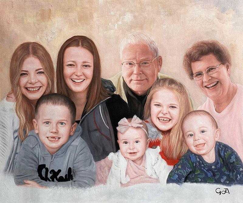 Gorgeous handmade oil artwork of a family