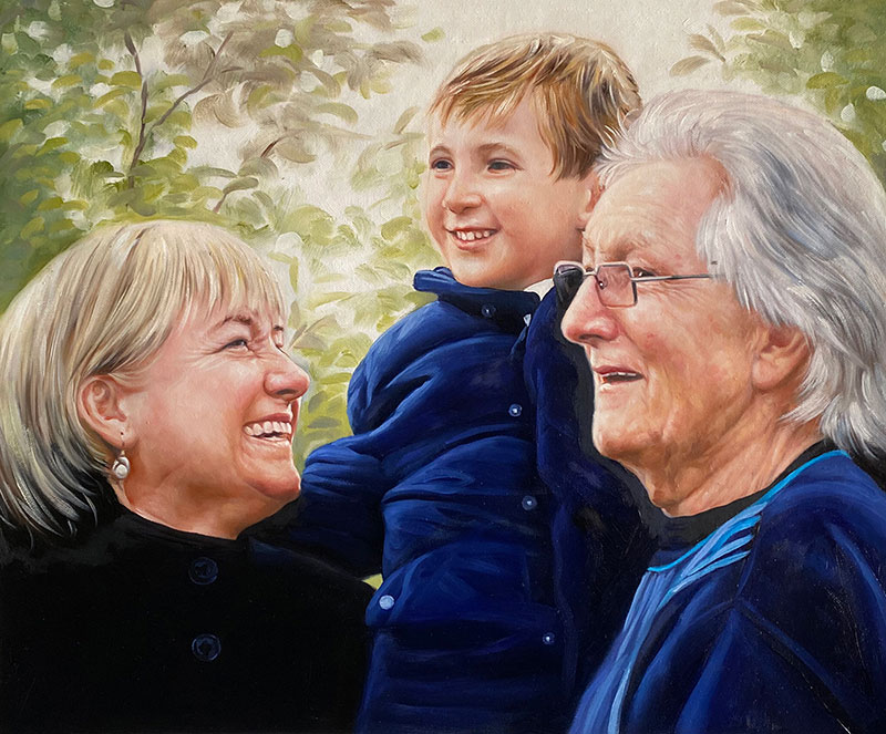 Beautiful handmade acrylic painting of grandparents with boy