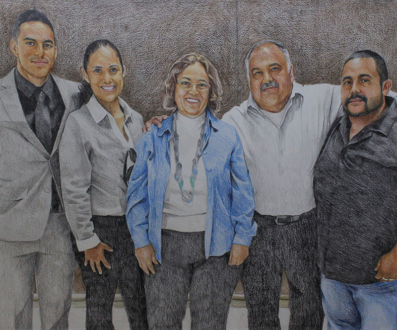 Beautiful family portrait in color pencil
