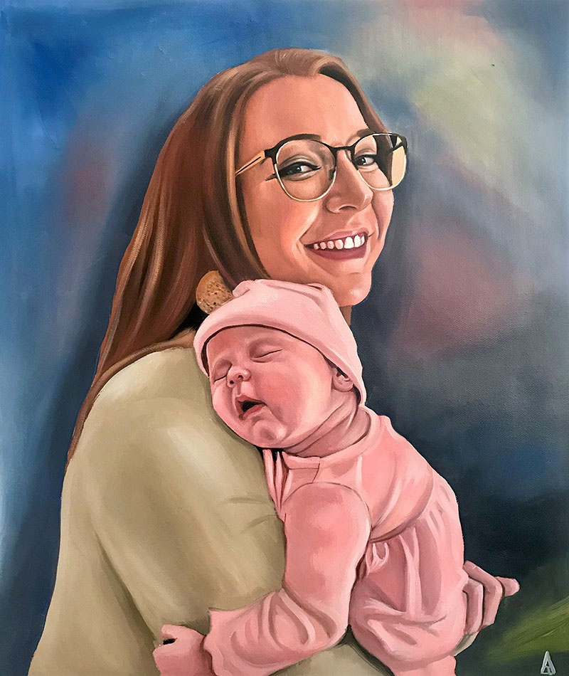 Beautiful handmade painting of a mother holding a baby
