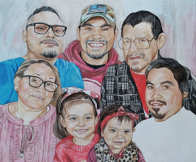 Personalized family portrait in color pencil
