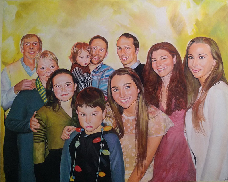 Gorgeous pastel painting of a happy family