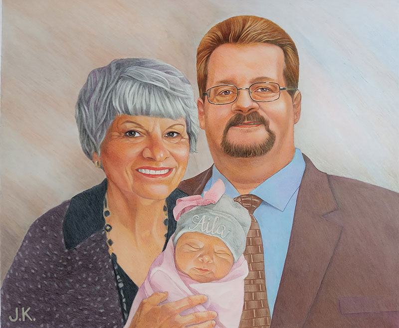 Hand-painted artwork of grandparents with a grandchild
