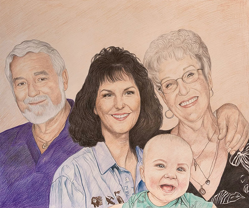 Beautiful family portrait in color pencil