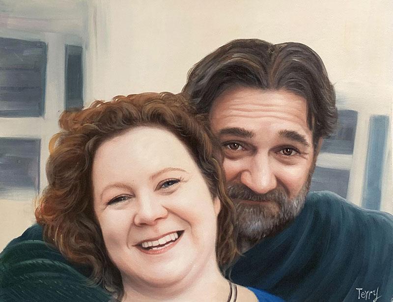 Hyper realistic handmade acrylic portrait of a couple