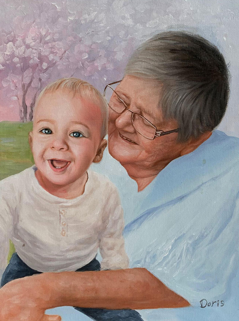 Custom handmade oil artwork of a grandmother and grandchild