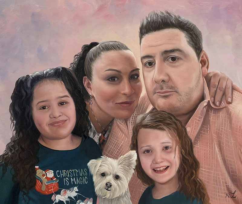 Beautiful handmade oil painting of a family with dog