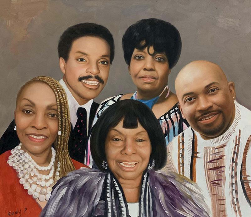 Gorgeous handmade family portrait in acrylic