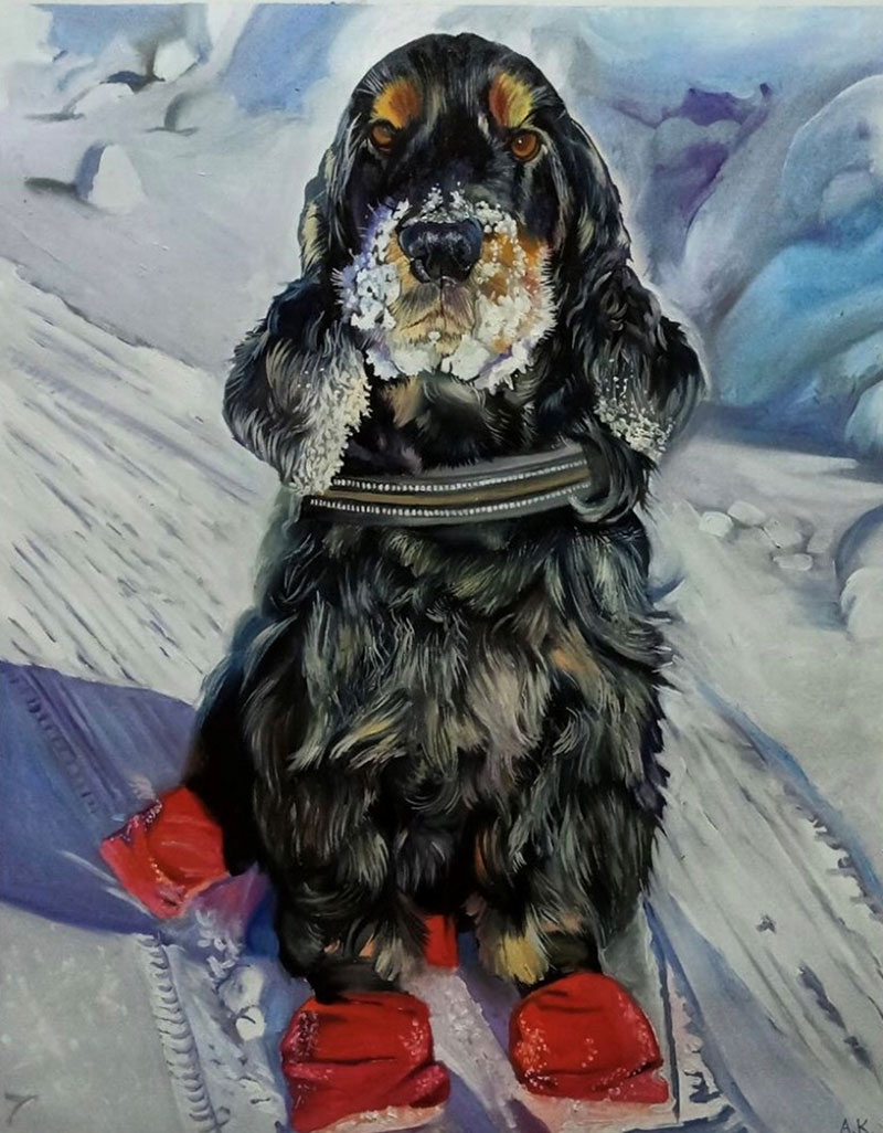Custom handmade oil painting of a dog in snow