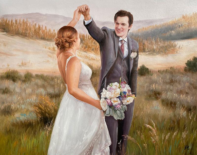 Beautiful handmade wedding portrait in oil