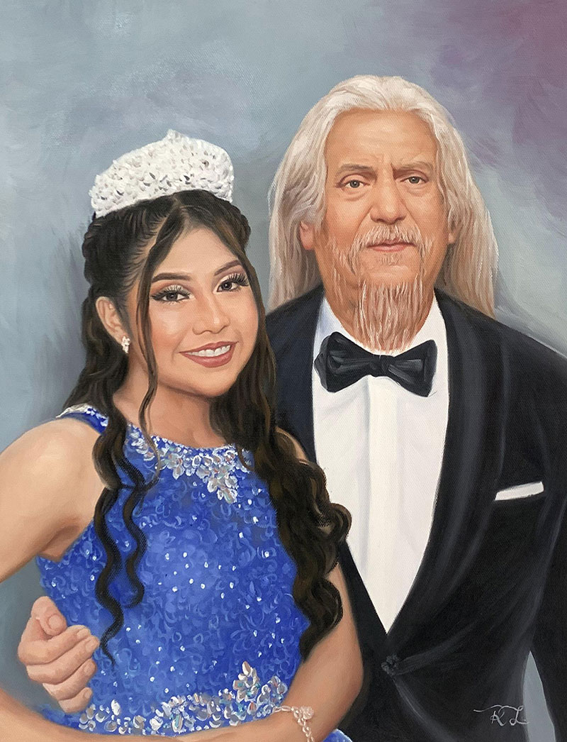 Beautiful handmade oil portrait of a grandfather and adult