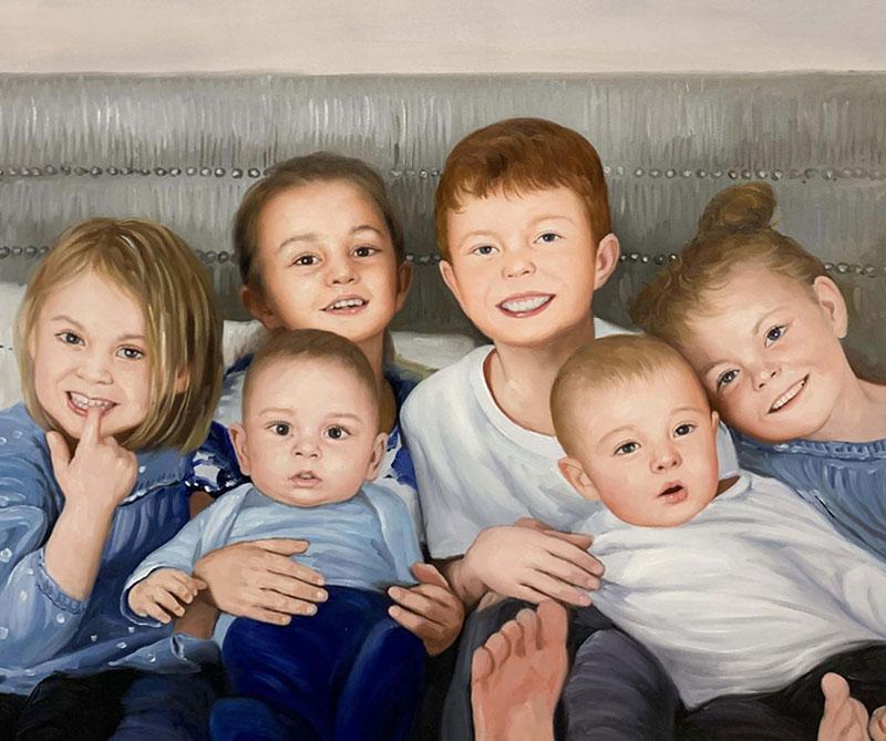 Beautiful handmade oil artwork of six children