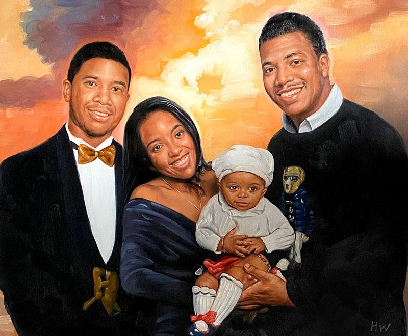 Custom handmade family portrait in oil