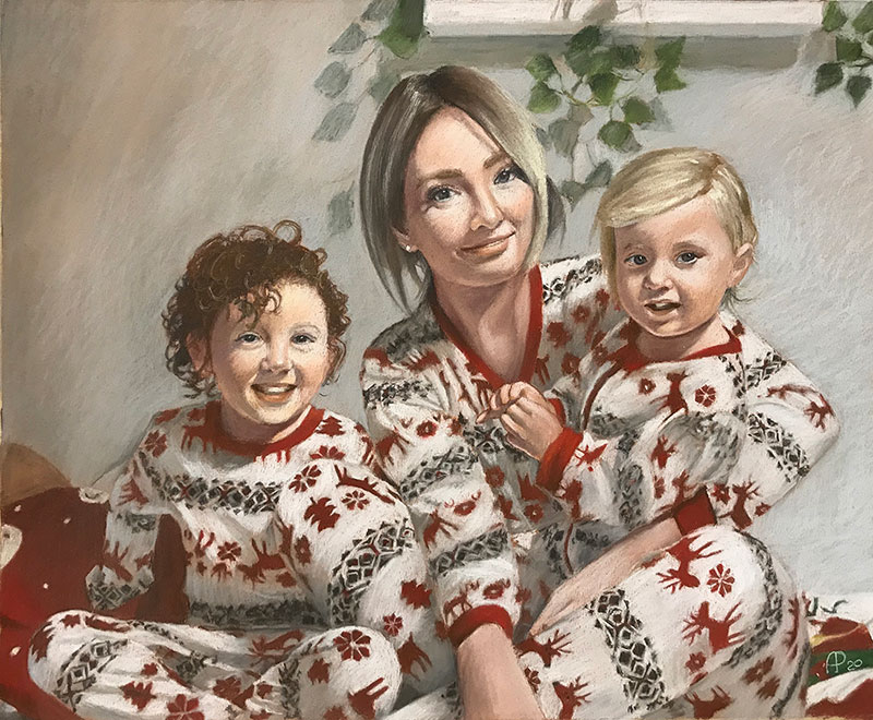 Custom pastel painting of mother and children in pajamas