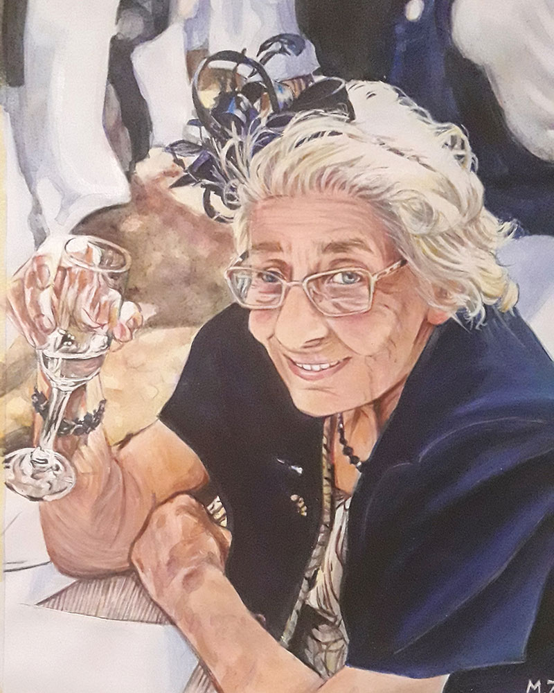 Beautiful acrylic portrait of an elderly lady with Champaign