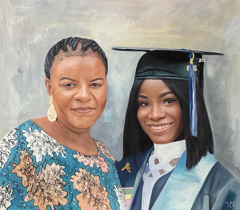 Custom handmade oil portrait of two adults