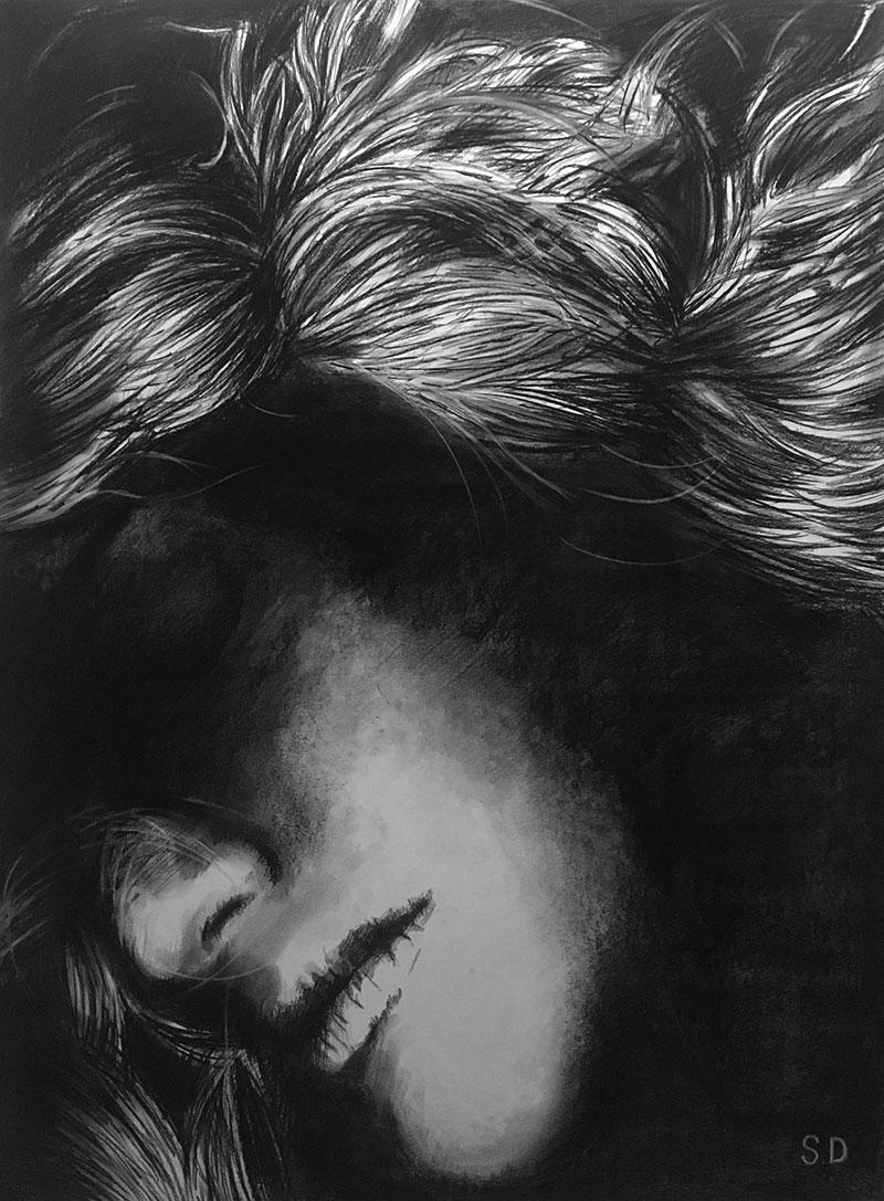 Custom handmade charcoal drawing of a lady