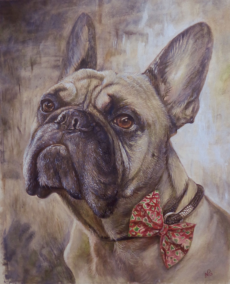 Close up handmade oil portrait of a dog