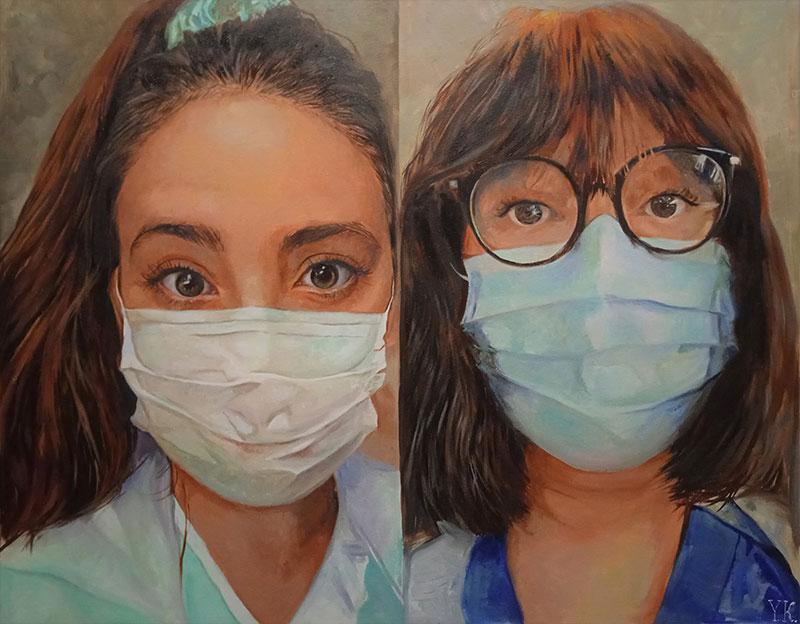 Gorgeous handmade oil artwork of nurses with masks
