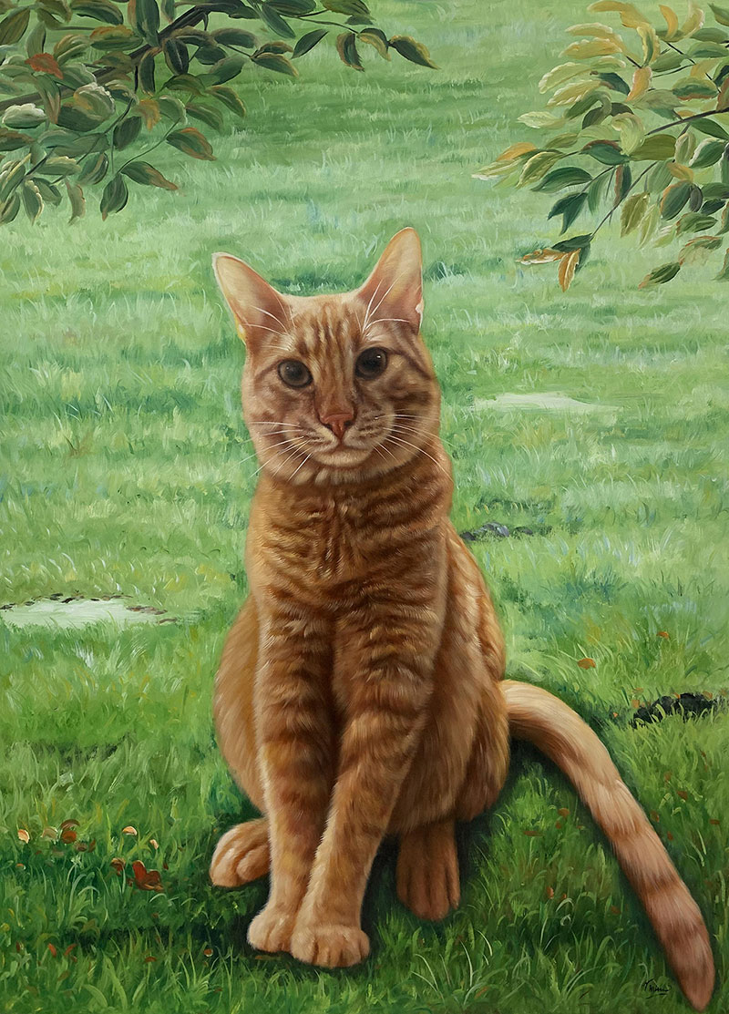 Custom handmade oil painting of a cat outdoors