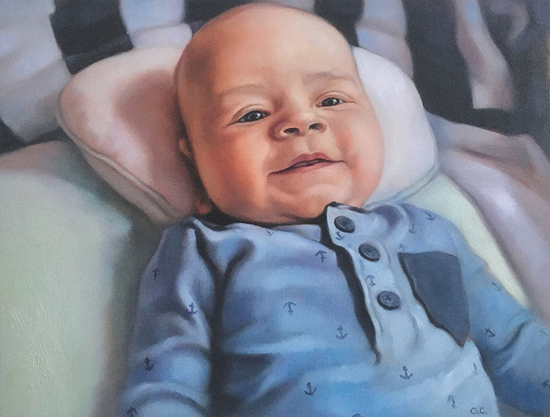 Realistic handmade oil painting of a child