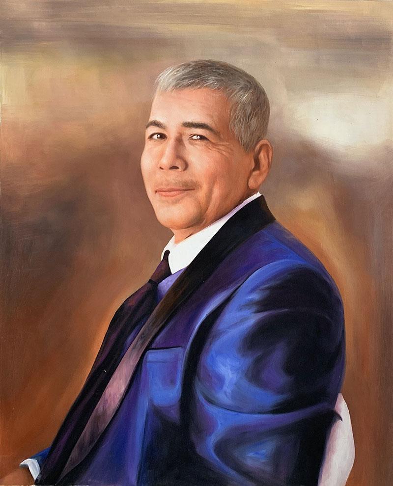 Realistic handmade oil portrait of a gentleman in suit