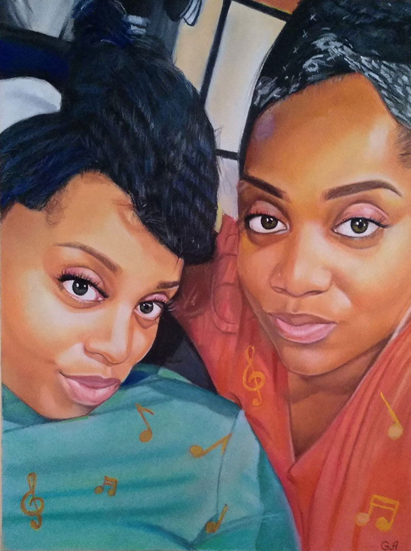 Gorgeous handmade pastel painting of two adults