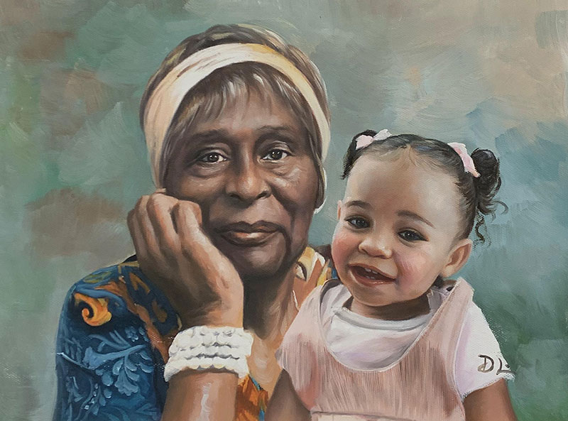 Beautiful painting of a grandmother and granchild