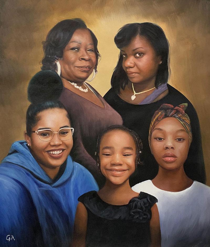 Custom handmade acrylic artwork of a family