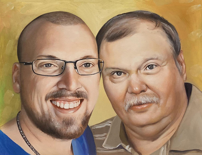 Custom handmade acrylic portrait of two adults