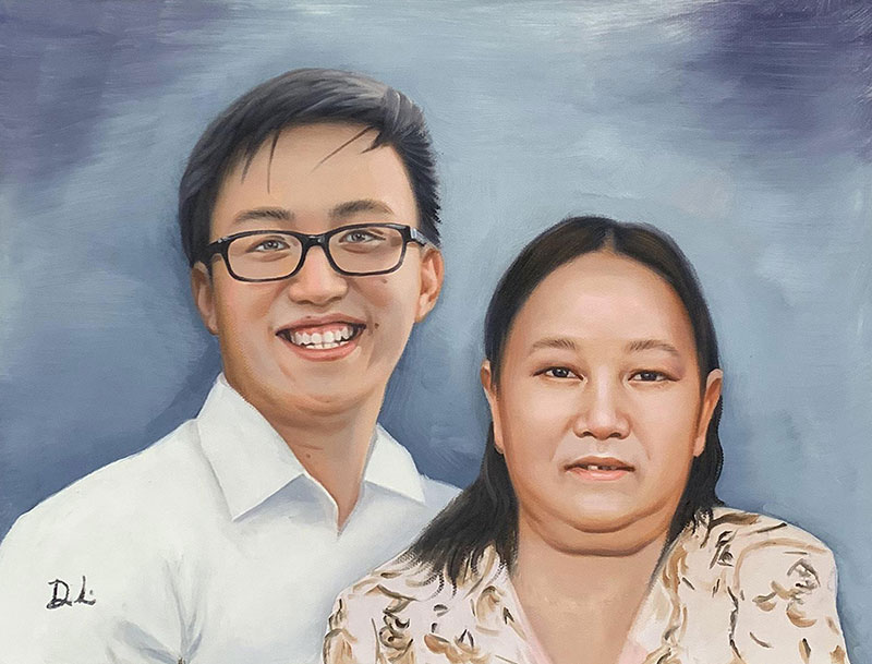 Gorgeous oil painting of a grandmother with grandson
