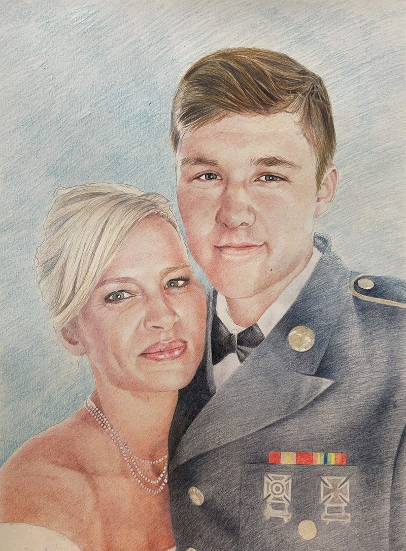 Gorgeous mother and son portrait created in color pencil