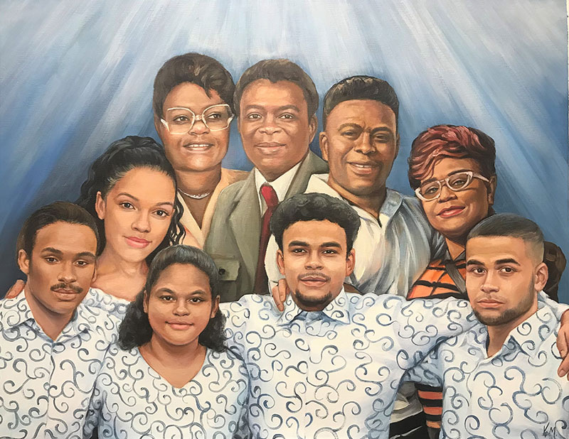 Beautiful handmade painting of a family in acrylic