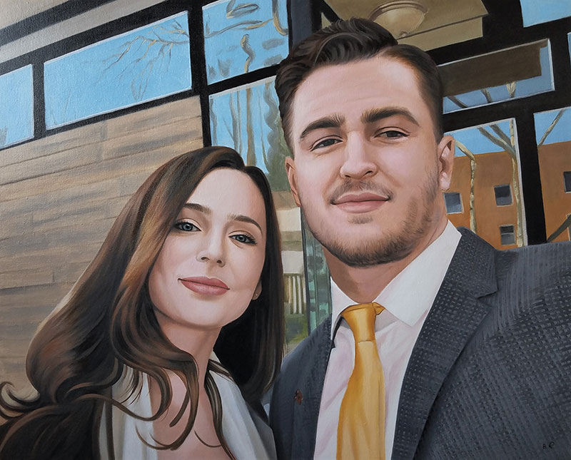 Gorgeous handmade oil portrait of a loving couple